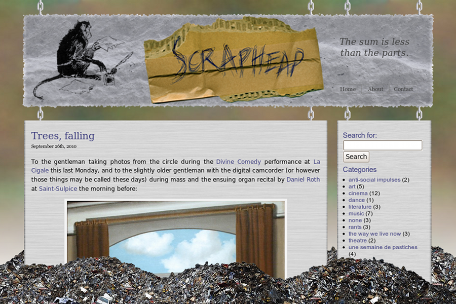 Screenshot of The Scrap Heap website
