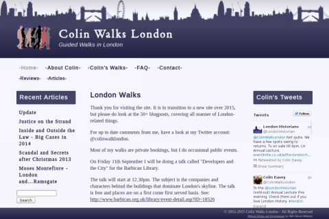 Screenshot of Colin Walks London website