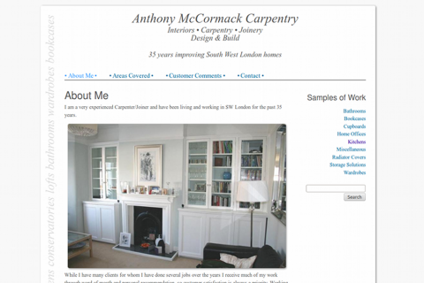 Screenshot of McCormack Carpentry website