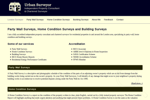 Screenshot of Urban Surveyor website